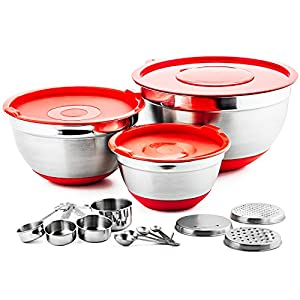 Chef's Star 17 Piece Stainless Steel Mixing Bowl Set with Anti-Slip Silicone Base - Includes 3 Stainless Steel Bowls with Lids,3 Interchangeable Graters,4 Measuring Cups,4 Measuring Spoons