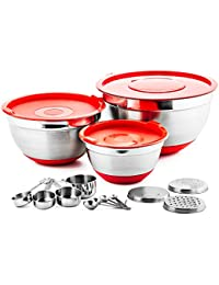 CheckOut Chef's Star Professional 17 Piece Stainless Steel Mixing Bowl Set with Anti-Slip Silicone Base saleoff