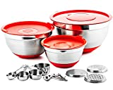 Chef's Star 17 Piece Stainless Steel Mixing Bowl Set - Anti Slip Silicone Base 3 Stainless Steel Bowls With Lids - 4 Measuring Cups & Spoons 3 Interchangeable Graters