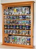 Large 72 Shot Glass Holder Display Case Cabinet, Holds Hard Rock and Jack Daniels or shot glasses - Oak Finish