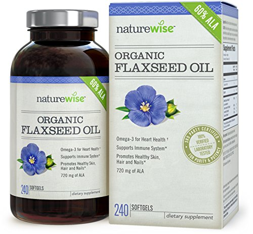 NatureWise Organic Flaxseed Oil 1200mg with 720 mg ALA, Omegas 3-6-9 for Cardiovascular Health & Immune Support, Promotes Healthy Skin, Nails & Hair, Non-GMO, 240 softgels