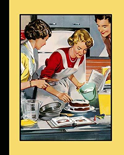 Retro illustration journal: Unique designed dot grid Journal for the retro illustration lover - kitsch family in kitchen baking a cake ()
