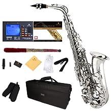 Mendini E-Flat Alto Saxophone, Nickel Plated and Tuner, Case, Pocketbook - MAS-N+92D+PB