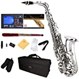 Mendini by Cecilio E-Flat Alto Saxophone, Nickel Plated + Tuner, Case, Pocketbook - MAS-N+92D+PB