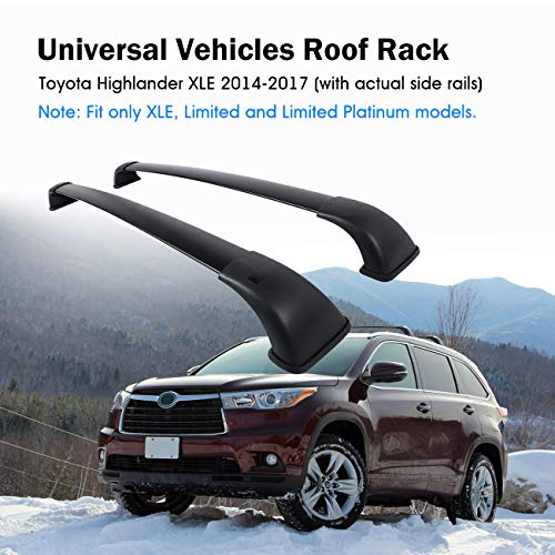 Partol Roof Rack Cross Bars for Toyota Highlander XLE Limited 2014 2015 2016 2017 2018, Aluminum Roof Top Crossbars Luggage Rail Cargo Carrier with Actual Side Rails - Pair, Black