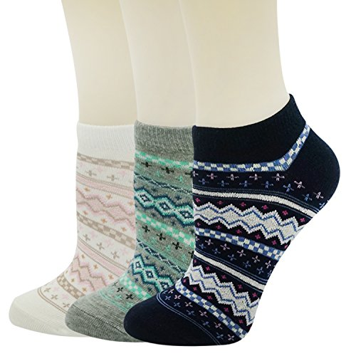 Womens Low Cut Socks Retro Pattern No Show Cotton Cute Novelty Ankle Socks 6pack