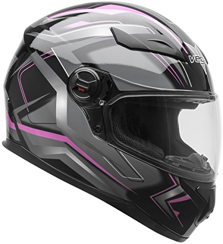 Vega Helmets AT2 Street Motorcycle Helmet for Men & Women – DOT Certified Full Face Motorbike Helmet for Cruisers Sports Street Bike Scooter Touring Moped (Pink Flash Graphic, X-Small) -