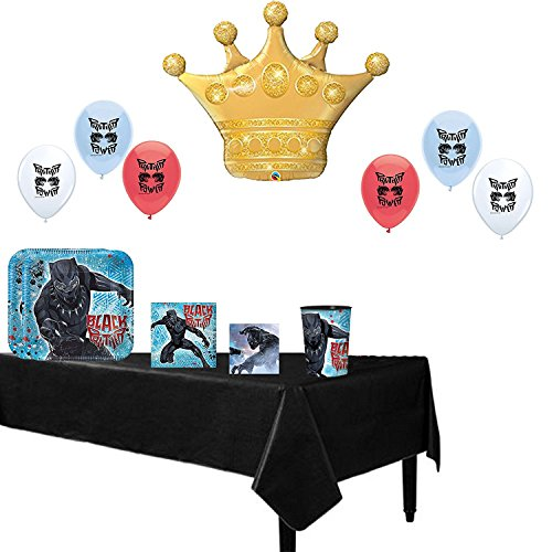 Black Panther Party Supplies Birthday Party Balloons and Tableware Decoration Bundle