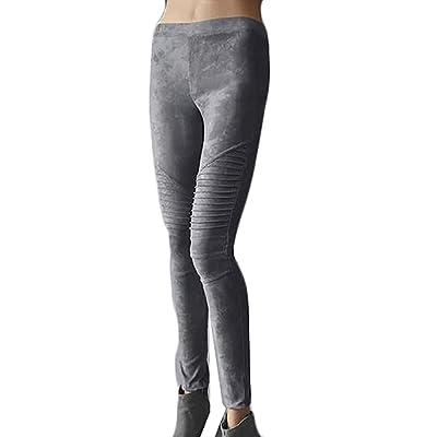 CBTLVSN Women Suede Flexible Button Skinny Stretch Pencil Pants Long Slim Trousers