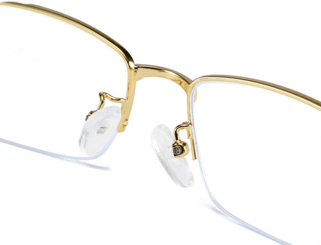 Color : Gold Funytine Square Metal Half Frame Anti-blue Glasses For Women Men Computer Glasses