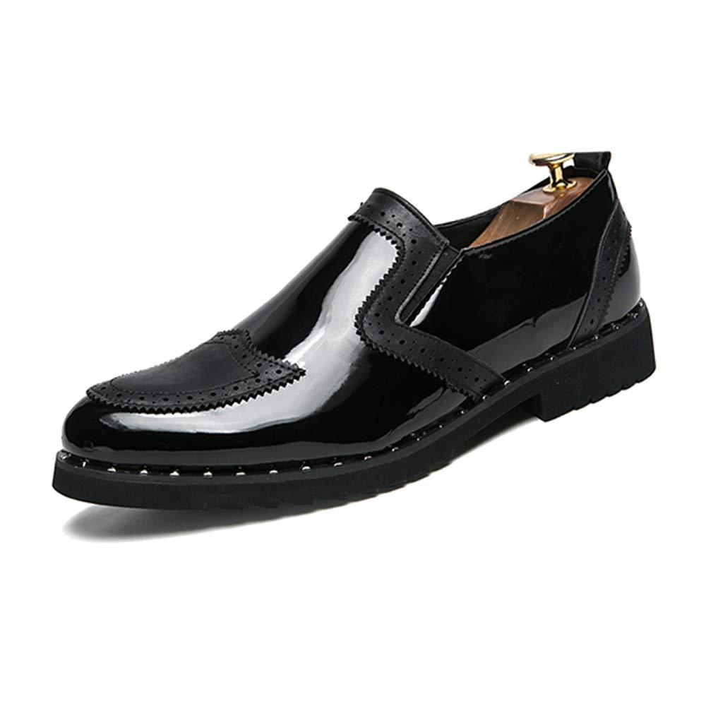 Männer Business Oxford Casual Persönlichkeit Stilvolle Schuhe Nähte Dickes Lackleder Brogue Schuhe Stilvolle (Farbe : Schwarz, Größe : 43 EU) 155d99