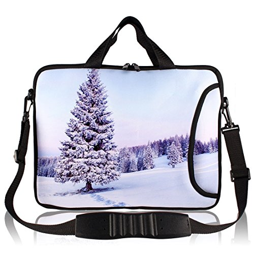 Baum Schnee-Muster Neopren-Hülsen-Handgriff-Beutel-Beutel-Kasten für 13 Laptop UgOMK