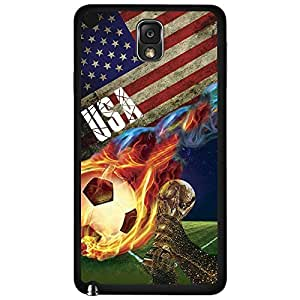 Red, White, and Blue USA Team Flag with Colorful Fiery Soccer Ball Hard Snap on Phone Case (Note 3 III)