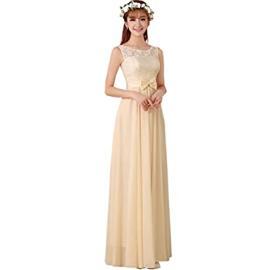 8 Stlye Champagne Womens Wedding Bridesmaid Party Evening Maxi Dress Gown (F,0)