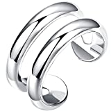 LWLH Jewelry Womens 925 Sterling Silver Plated Fashion Open Horizontal Double Lines Simple Toe Ring Band