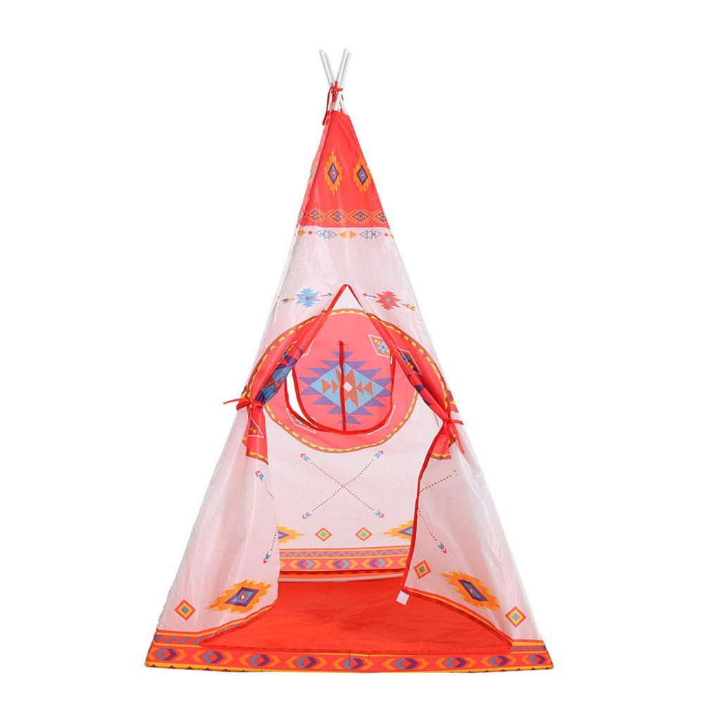 Binory Folding Kids Classic Indian Play Tent with Mat&Carry Case,Portable Indoor Outdoor Picnic Canvas Teepee Playhouse Has Walls with Door Window and Floor,Birthday Gift for Boys Girls Children(Red)
