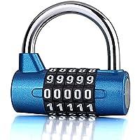 Candado Combinacion 5 Dígitos, Candado Taquilla Gimnasio, Impermeable Seguridad Candado para Escolar, Archivadores, Caja…