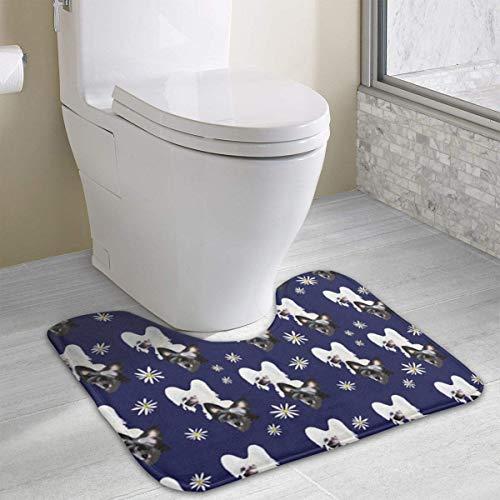 Beauregar Cute Chinese Crested Fabric Contour Bath Rugs,U-Shaped Bath Mats,Soft Polyester Bathroom Carpet,Nonslip Toilet Floor Mat 19.2″x15.7″
