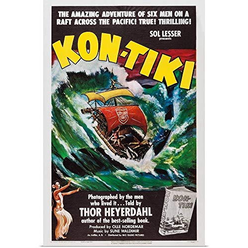 GREATBIGCANVAS Poster Print Entitled Kon-Tiki, Norwegian Poster, 1950 by 12
