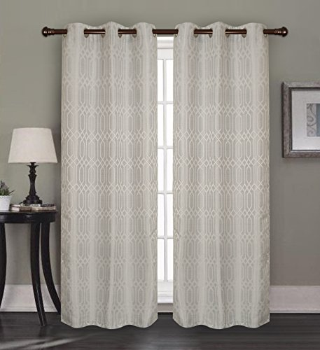 RT Designers Collection Oakley Jacquard 76 x 84 in. Grommet Curtain Panel Pair (Set of 2), - Collection Oakley Metal X