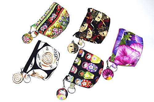 Quilted Coin Purse,Your Choice,Spring Flowers,Theater Opera Masks, Pansy,Matching Zipper Pull