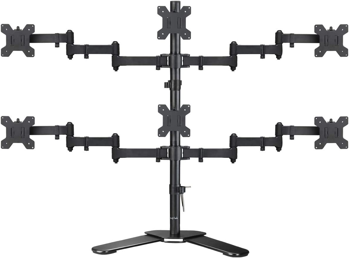 """Suptek Hex LED LCD Monitor Stand up Free-Standing Desk Stand Extra Tall 31.5"""" Pole Heavy Duty Fully Adjustable Mount for 6 / Six Screens up to 27 inch (ML68126)"""
