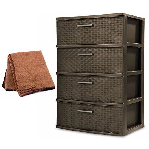NEW! Sterilite 4-Drawer Wide Weave Tower Plastic Storage Kitchen or Bedroom Organizer in Espresso with Microfiber Cleaning Cloth (Narrow Drawer Lock File Cabinet)
