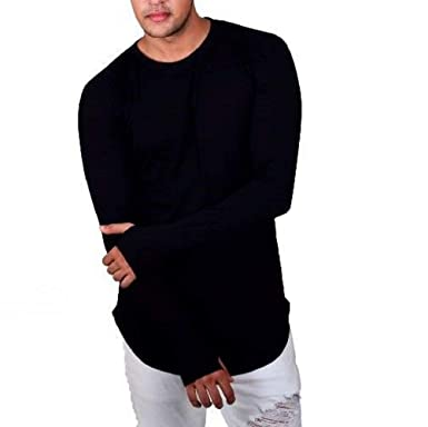 1106d87ef51 Finger s Mens Full Sleeves Thumb Hole Cotton T Shirt - Round Neck ...