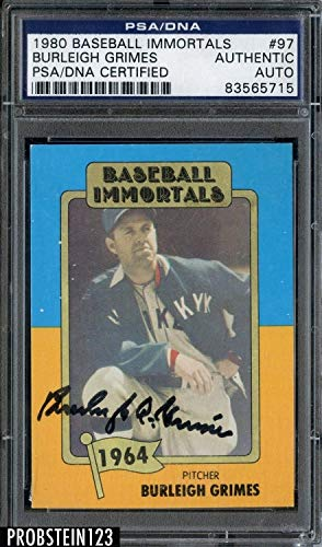 Burleigh Grimes Autographed Signed 1980 Baseball Immortals #97 Psa/Dna Autograph Auto Hof ()
