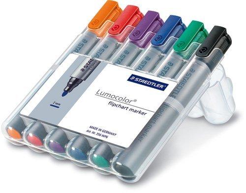 Staedtler Lumocolor Flipchart Marker 356 WP6 ST Bullet Tip - Assorted Colours (Pack of 6) (Flip Chart Sharpies)