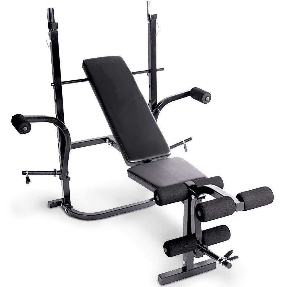 Koolook - Gym Bench - Banco para levantamiento de pesas + 2 discos de 5 kg + 2 discos de 15 kg + barra: Amazon.es: Deportes y aire libre