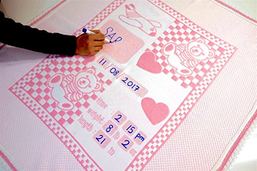 Personalized Baby Blanket Unique Shower Gifts Registry Idea for New-born Girl Boys Twins Moms Customized Receiving Keepsake Item with Special Pen to Write Name Birthday Weight Length (Teddy Bear Pink) (New Baby Personalized Gifts)