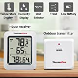ThermoPro TP60 Indoor Outdoor Thermometer Humidity Monitor with Temperature Gauge Humidity Meter, Wireless Digital Hygrometer, 200ft/60m Range (Batteries Included)