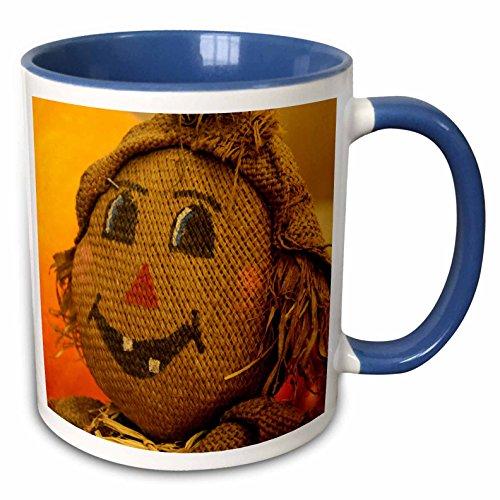 3dRose Danita Delimont - Autumn - USA, California, Autumn, Scarecrow at Pumpkin Patch - US05 KWI0041 - Kymri Wilt - 15oz Two-Tone Blue Mug (mug_142772_11)]()