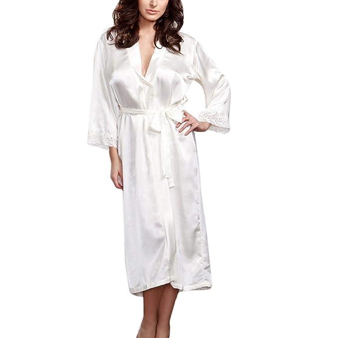 SHOBDW Ropa de Dormir Mujeres Sexy Largo Satinado De Seda Kimono Bata Babydoll Encaje Lencería Conjunto
