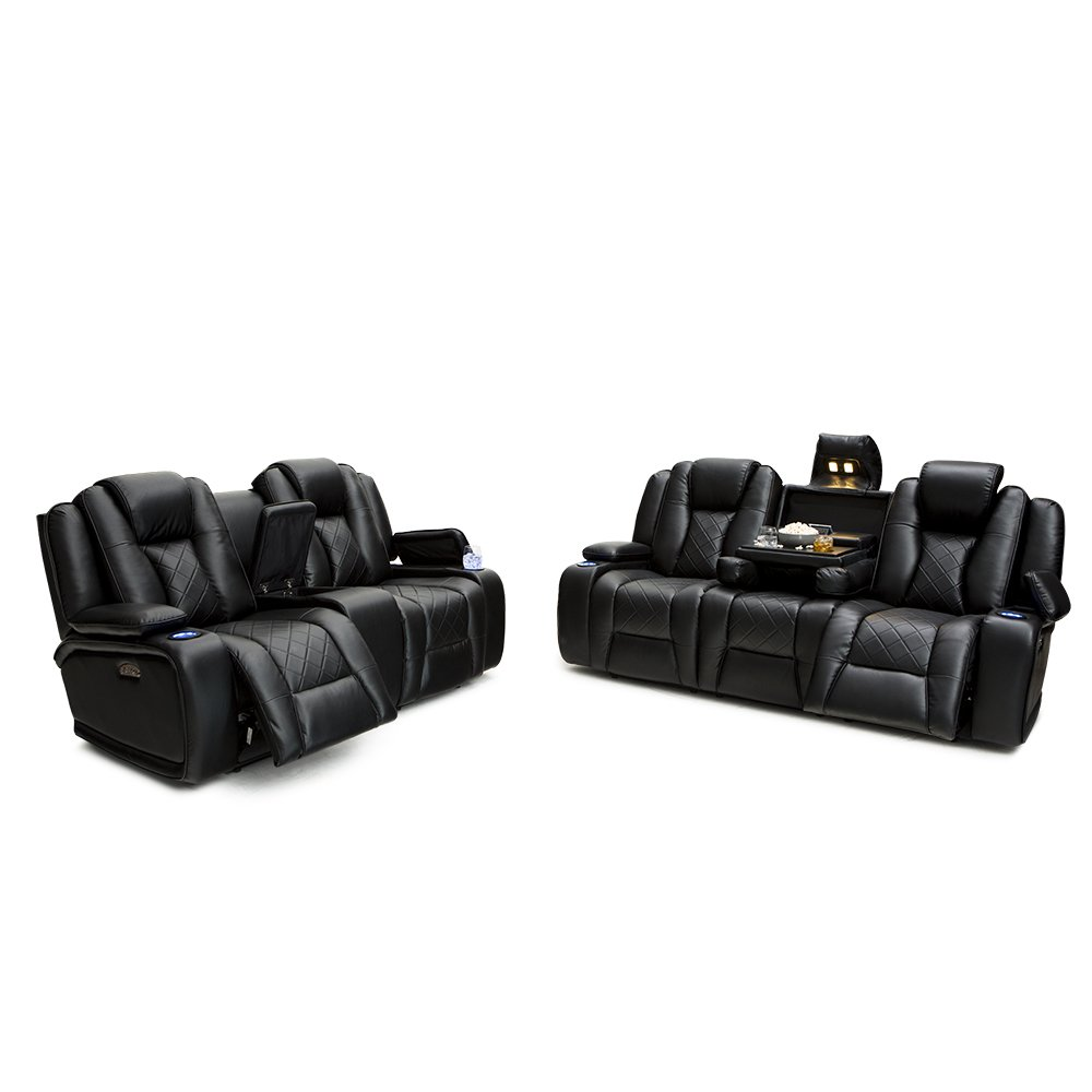 Seatcraft Europa Home Theater Seating Multimedia Power Recline Sofa and Loveseat Set (Black)