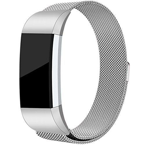 Maledan For Fitbit Charge 2 Bands, Stainless Steel Milanese Loop Metal Replacement Accessories Bracelet Strap with Unique Magnet Lock for Fitbit Charge 2 HR Silver Large