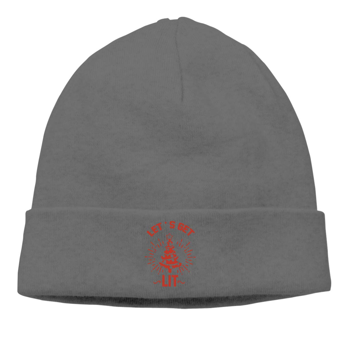 Riokk az Lets Get Lit Skull Caps Beanie Hats for Mens Deep Heather
