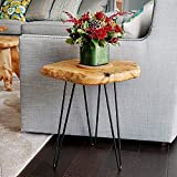 NBWOOD Natural Edge Side Table, Live Edge End Table with 3 Hairpin Legs, Nightstand Plant Stand for Bedroom and Living Room(15.5' L x 14.5' W x 16' T.)