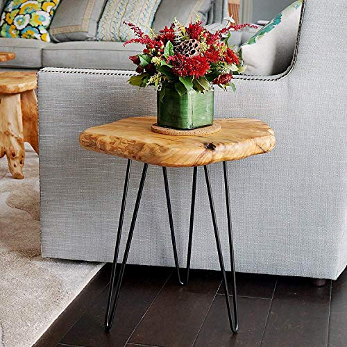 (NBWOOD Natural Edge Side Table, Live Edge End Table with 3 Hairpin Legs, Nightstand Plant Stand for Bedroom and Living Room(15.5