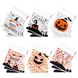 KUUQA 200 Pcs Halloween Candy Bag Clear Self Adhesive Cellophane Treat Bags for Halloween Party Gift Supplies Homemade Craft