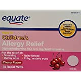 Equate Children's Allergy Relief 18ct (cherry flavour) Compare to Children's Benadryl Allergy FastMelt (2 Pack) (2)