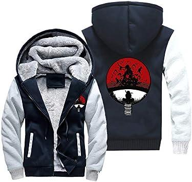 メンズパーカーフルジッパープリント内葉カカシが丸目を書いていますベルベットパッド入りフード付きセーターコートフリースフーディー、冬に適しています