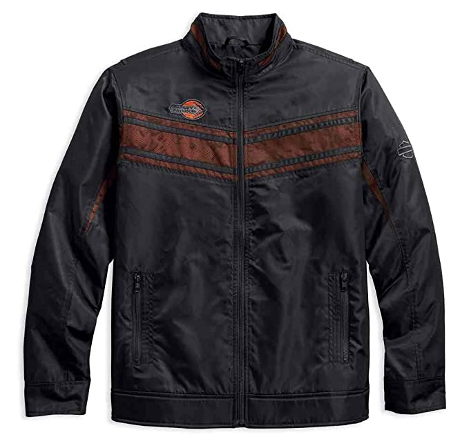 Harley-Davidson Mens Lightweight Mesh Accent Nylon Jacket, Black 97454-18VM