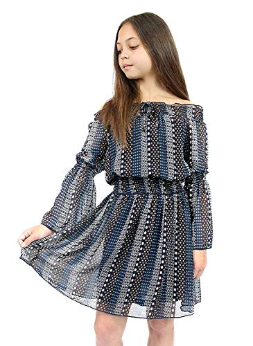 Smukke, Big Girls Beautiful Printed Long Sleeves Dress (with Options), 7-16 (Brown Multi, ()
