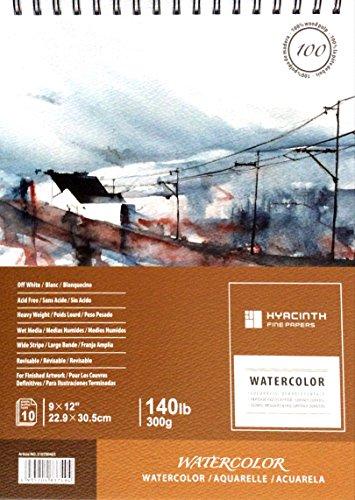 HYACINTH 210700403 Watercolor Pad, 9x12, 140lb/300g, Spiral Bound, 10 Sheets