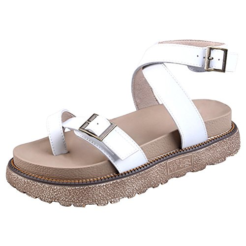 Wealsex Women's Ladies Flat Ankle Strap Buckle Leather Roman Sandals Peep Toe Summer Shoes Casual Comfortable Size UK 2.5-8 White