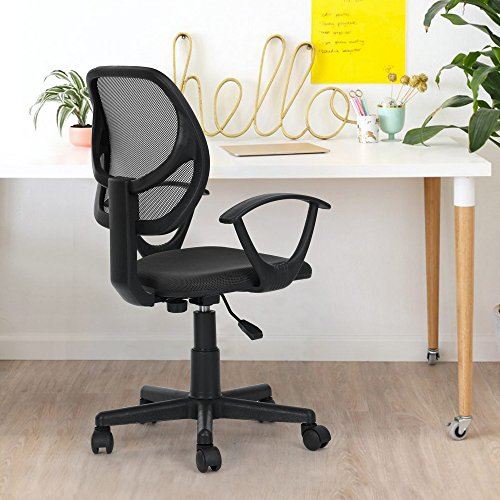 GreenForest Kid's Office Mesh Chair Mid-Back Support, Swivel Wheel Casters, PP Armrest Mesh Desk Adjusting Chair Teens, Students, Children Home Office, Black by GreenForest