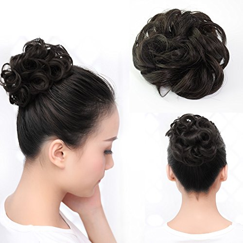Bun Hair Extension (Beauty Angelbella Lovely Scrunchie Updos Synthetic Hairpiece Curly Messy Bun Hair Extensions Different Colors Available (2#))