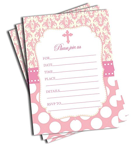 50 Pink Cross Invitations and Envelopes (Large Size 5x7) - Religious Celebration Invites - Baptism - Christening - First Communion - Confirmation